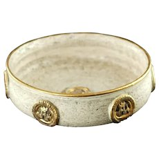 """Vintage Bitossi Italy for Goodfriend 9"""" White Ceramic Console Bowl with Gold Medallion Decor"""