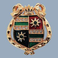 Large Vintage Swarovski Austrian Crystal Heraldic Shield Gold Plated Brooch Pin
