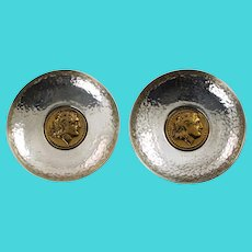 Vintage Pair Hand Hammered Sterling Silver Dishes with Alexander the Great Coin Motif