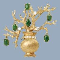 Vintage 14K Diamond and Pearl Bonsai Tree Brooch Pin with Dangling Jadeite Pendants