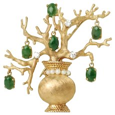 Vintage 14K Diamond and Pearl Bonsai Tree Brooch Pin with Dangling Jadeite Pendants