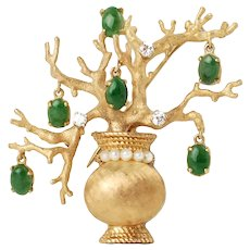Vintage 14K Gold Diamond and Pearl Bonsai Tree Brooch Pin with Dangling Jadeite Pendants