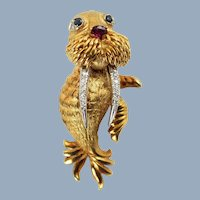 Vintage Hammerman Brothers 18K Gold Walrus Brooch Pin with Diamonds, Sapphires, and Ruby Accents