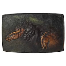 Vintage Horse Motif Bronze Relief Rectangular Wall Plaque