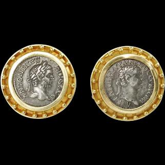 Vintage Elizabeth Locke Ancient Coin 18K Gold Earrings with Granulation