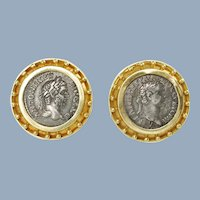 Vintage Elizabeth Locke Ancient Coin 18K Gold Earrings with Granulation