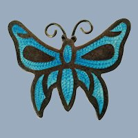 Vintage Jeronimo Fuentes Sterling Silver Blue Guilloche Enamel Butterfly Brooch Signed JF Eagle 2
