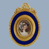 Antique Hand Painted Miniature Portrait French Empire Ormlou Frame with Royal Blue Guilloche Enamel S&G Gump Co