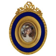 Antique Hand Painted Miniature Portrait in Ormlou Frame with Guilloche Enamel S&G Gump Co
