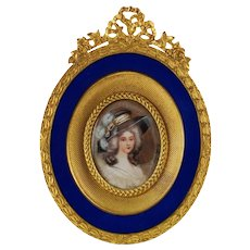 Antique Hand Painted Artist Signed Miniature Portrait French Empire S&G Gump Ormlou Frame