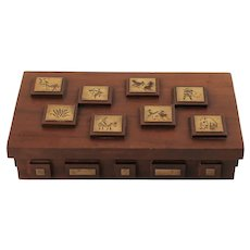 Vintage Lidded Wood Box with Decorative Brass Silhouette Medallions