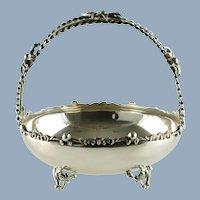 Vintage Sterling Silver Brides Bon Bon Cake Basket with Split Spiral Twist Stem Handle Dimensional Flowers