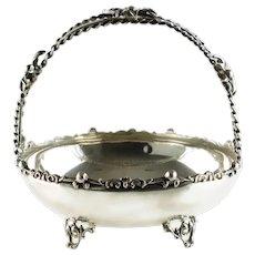 Vintage Sterling Silver Brides Bon Bon Basket with Split Spiral Twist Stem Handle