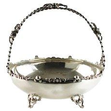 Vintage Sterling Silver Brides Bon Bon Cake Basket with Split Spiral Twist Stem Handle