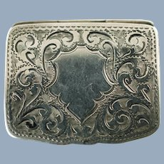 Antique Sterling Silver Box With Bright Cut Decoration by Adie and Lovekin Birmingham Circa 1905