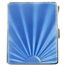 Vintage Art Deco Blue Guilloche Enamel Case Adie Brothers Ltd Circa 1931