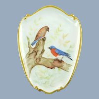 Vintage Hand Painted Bluebird Motif Shield-Shaped Porcelain Wall Plaque Artist Signed