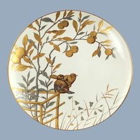 Antique Mintons Ornithological Gilt Gold and Silver Aesthetic Movement Cabinet Plate