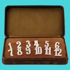 Antique Cased Continental Silver Table Number Hooks Clips Complete Set 1-12 for Napkins Menus or Glasses
