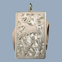 Antique Sterling Silver Dual Folding Knife and Tool Pendant with Engraved Foliate Decor
