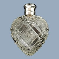 Antique American Brilliant Period Cut Glass Perfume Bottle with La Pierre Sterling Silver Cap