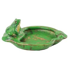 Vintage Weller Art Pottery Coppertone Pin Tray Dimensional Frog Motif
