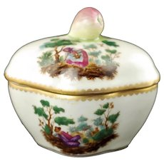 Antique Richard Ginori Mantova Scenic Landscape Lidded Trinket Box with Fig Finial