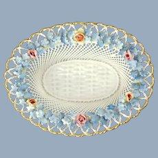 Antique Von Schierholz Elfinware Woven Porcelain Basket with Applied Porcelain Forget-Me-Nots and Roses