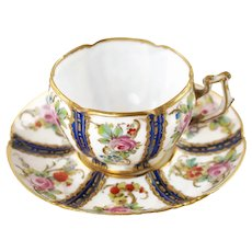 Antique Gilded Sevres Style Porcelain Tea Cup and Saucer with Hand Painted Floral Motif