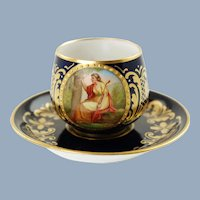 Antique Royal Vienna Hand Painted Artist Signed C Heer Porcelain Demitasse Cup and Saucer