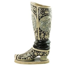Antique 19th Century German Westerwald Relief Molded Stoneware Historismus Boot