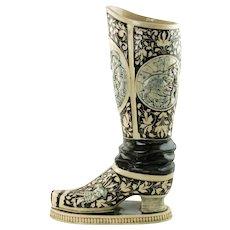 19th Century German Westerwald Relief Molded Stoneware Historismus Boot Vase Labors of Hercules Motif