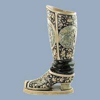 Antique 19th Century German Westerwald Relief Molded Stoneware Historismus Boot Vase Labors of Hercules Motif