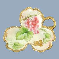 Antique Richard Ginori Hand Painted Artist Signed Limoges Porcelain Grape Leaf Dish