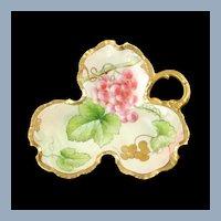 Antique Richard Ginori Artist Signed Limoges Porcelain Grape Leaf Dish R Pinelli
