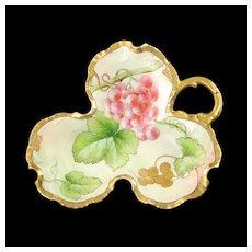 Antique Richard Ginori Hand Painted Artist Signed Limoges Porcelain Grape Leaf Dish with Gilt Trim R Pinelli