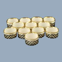 Antique Watson Sterling Silver Lattice Pattern Salt Cellars with Lenox Gilt Rimmed Porcelain Inserts Set of 12