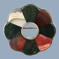 Antique Victorian Scottish Inlaid Agate Sterling Floriform Brooch Pin