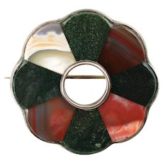 Antique Victorian Scottish Inlaid Agate Sterling Floriform Brooch Pin with Whitby Jet Back