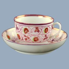 Antique Early 19th Century English Pink Lustreware Strawberry Pattern Hand Painted Cup and Saucer