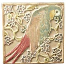 Vintage Rookwood Pottery Ceramic Trivet Tile Parrot 3077 Circa 1922