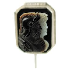 Antique 14k White Gold Capita Jugata Hand Carved Banded Sardonyx Double Cameo Stick Pin Brooch Tie Pin Lapel Pin