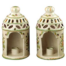 Vintage Hand Painted Italian Majolica Reticulated Lantern Candle Holders with Floral Motif