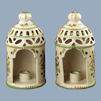 Vintage Hand Painted Italian Majolica Reticulated Conical Lantern Candle Holders