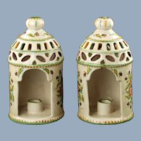 Vintage Hand Painted Italian Majolica Reticulated Conical Lantern Candle Holders with Handles Polychrome Floral and Foliate Motif