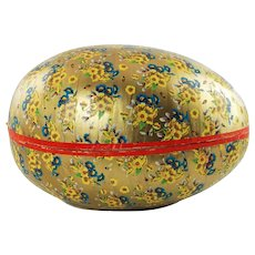 Large Vintage Western Germany Paper Mache Easter Egg Candy Container