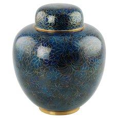 Vintage Blue Cloisonne Lidded Ginger Jar Urn