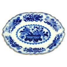 Antique J&G Meakin English Flow Blue Large Platter Japan Pattern with Gilt Edge