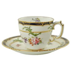 Antique Royal Crown Derby Hand Painted Porcelain Demitasse Cup and Saucer