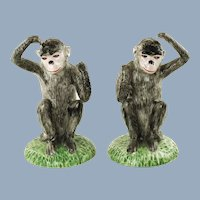Vintage Italian Hand Painted Ceramic Monkeys Matched Pair